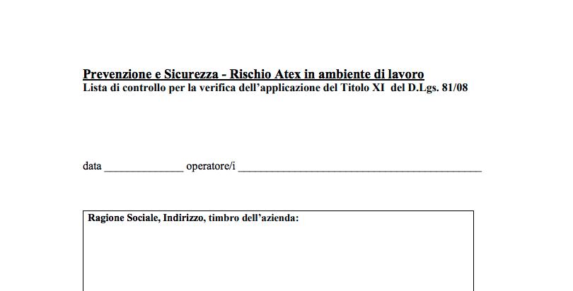 ischio-atex-ambiente-lavoro-lista-controllo-Titolo-XI-del-DLgs-81-08